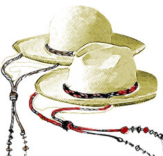 straw hats with stampede strings